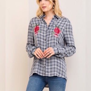 Tops - Rose Patch Flannel Shirt